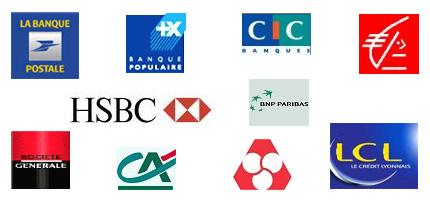 Logo des banques BNP, Credit Agricole, Societe Generale ...