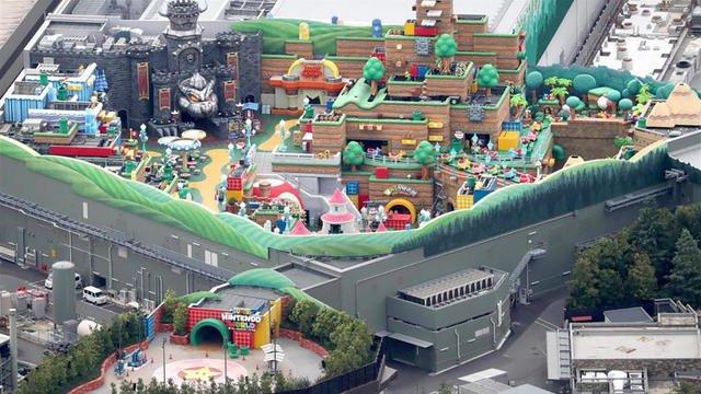 L'entrée vue aérienne du parc d'attraction Nintendo